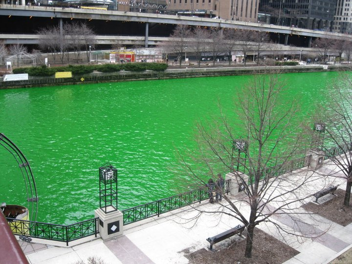 Chicago River dyed