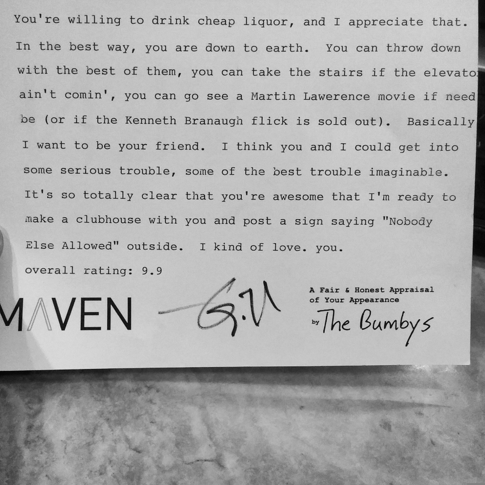 A review from The Bumbys at The Maven launch party January 2016.